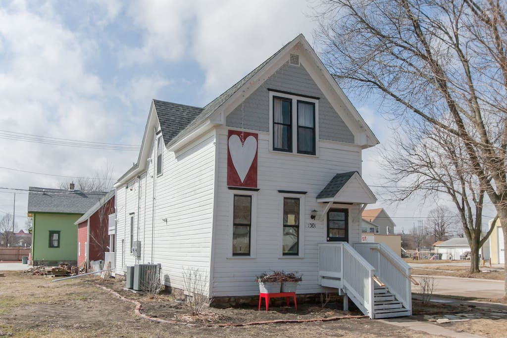 Dubbed by the community as The Heart House, this home was saved from demolition. It was built in the 1890's by Czech immigrants and was originally one story.