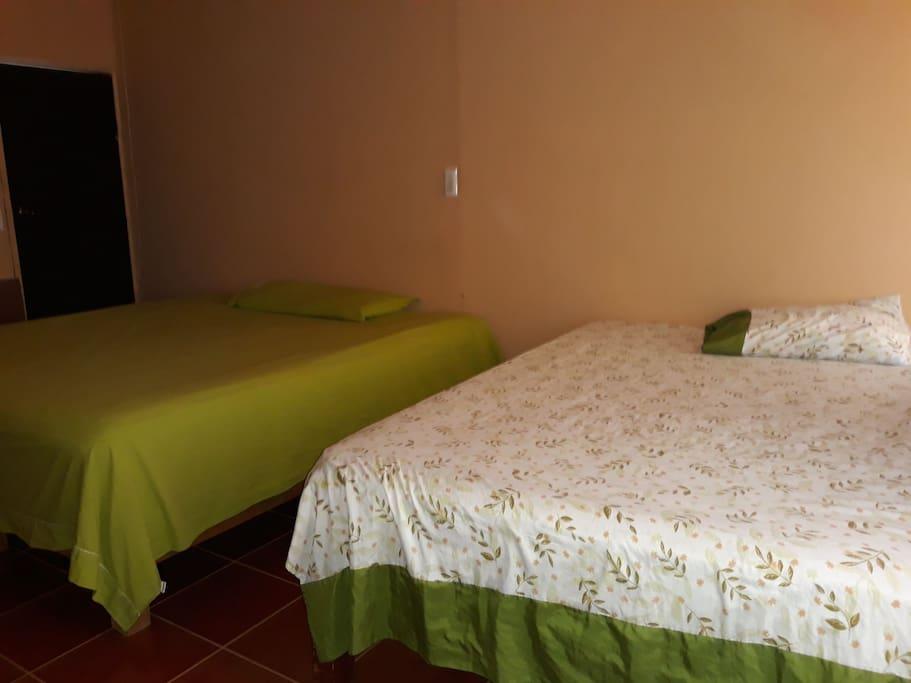 Habitación con 1 cama king , 1 matrimonial, Baño privado y A/A.