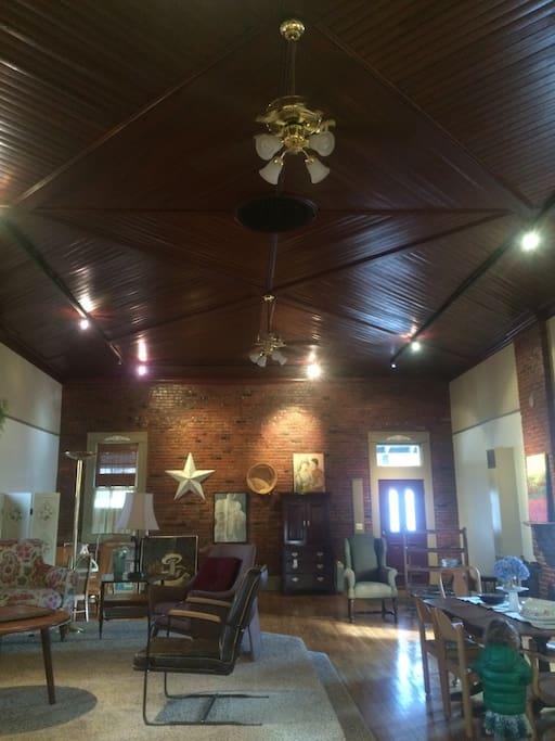 Gorgeous original wood paneled ceiling