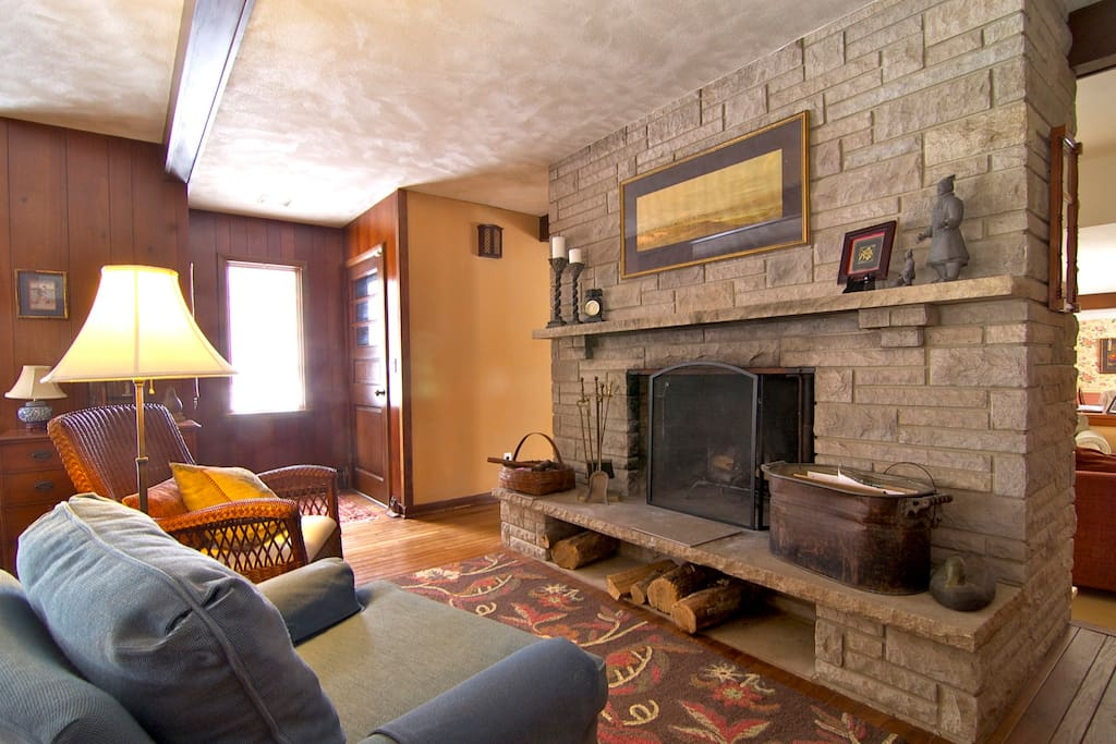 Living room fireplace area