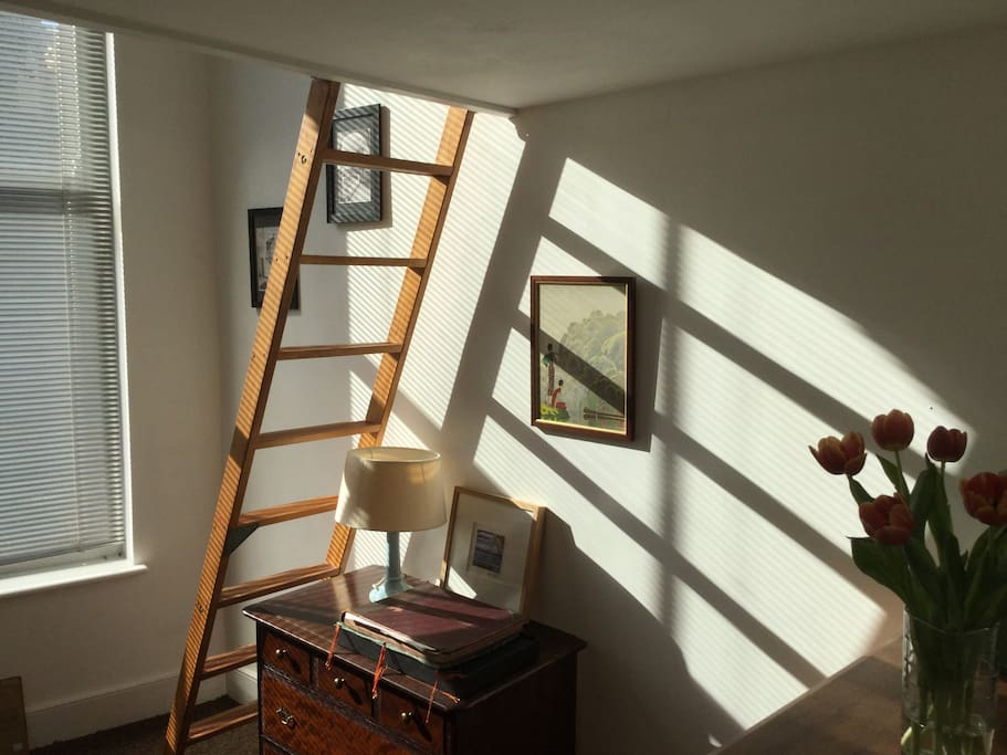 Bedroom 2  - the ladder leads to the mezzanine double bed.