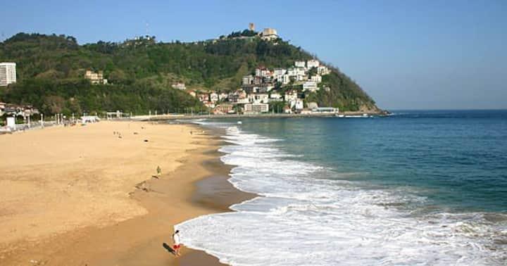 Hab. doble+baño privado+terraza. Playa Ondarreta