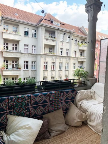 Cosy balcony with beautiful pillar on the side