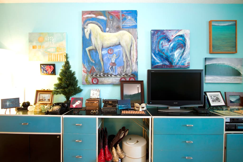 colorful, eclectic art and collectibles