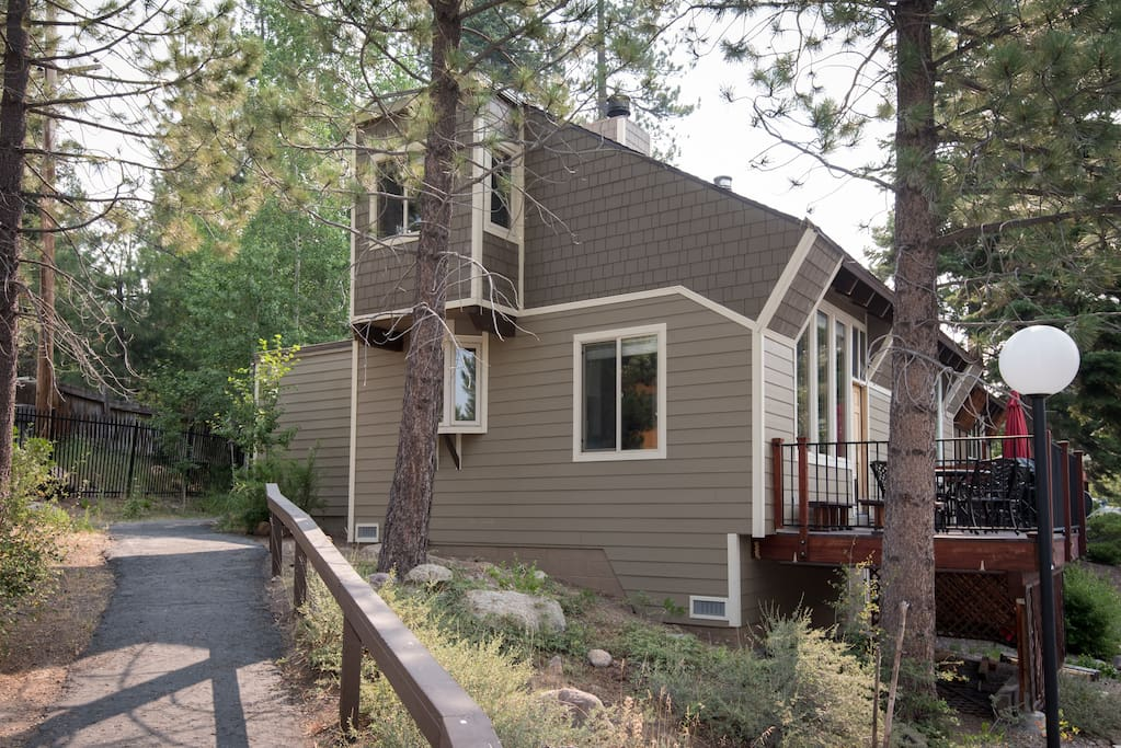 Outside view without the snow (and newly updated siding) - end unit of 3 condos - quiet and inviting