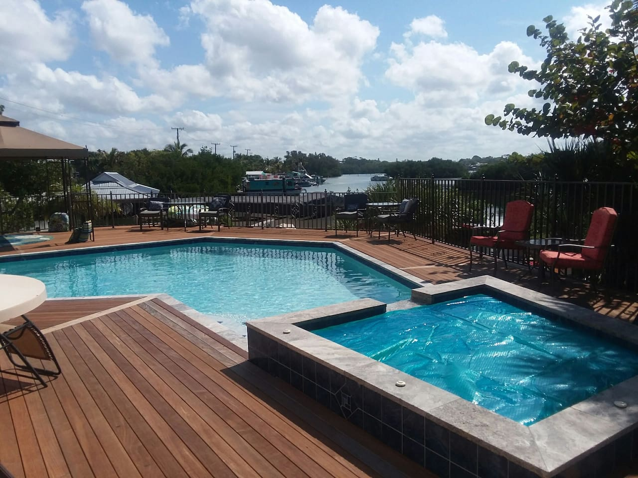 view of bay from your very spacious pool/spa deck