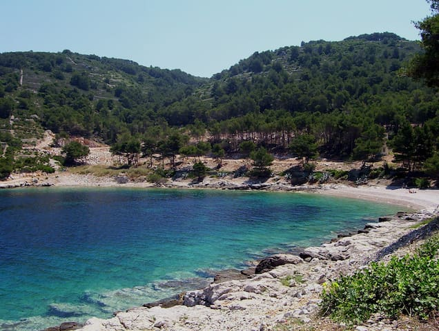 Grandovac beach is just a 20 minute walk or short cycle ride from the house.