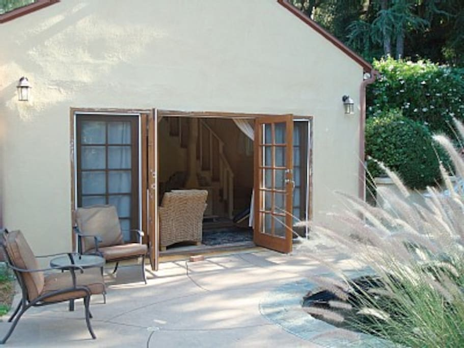 French doors opening to the pool