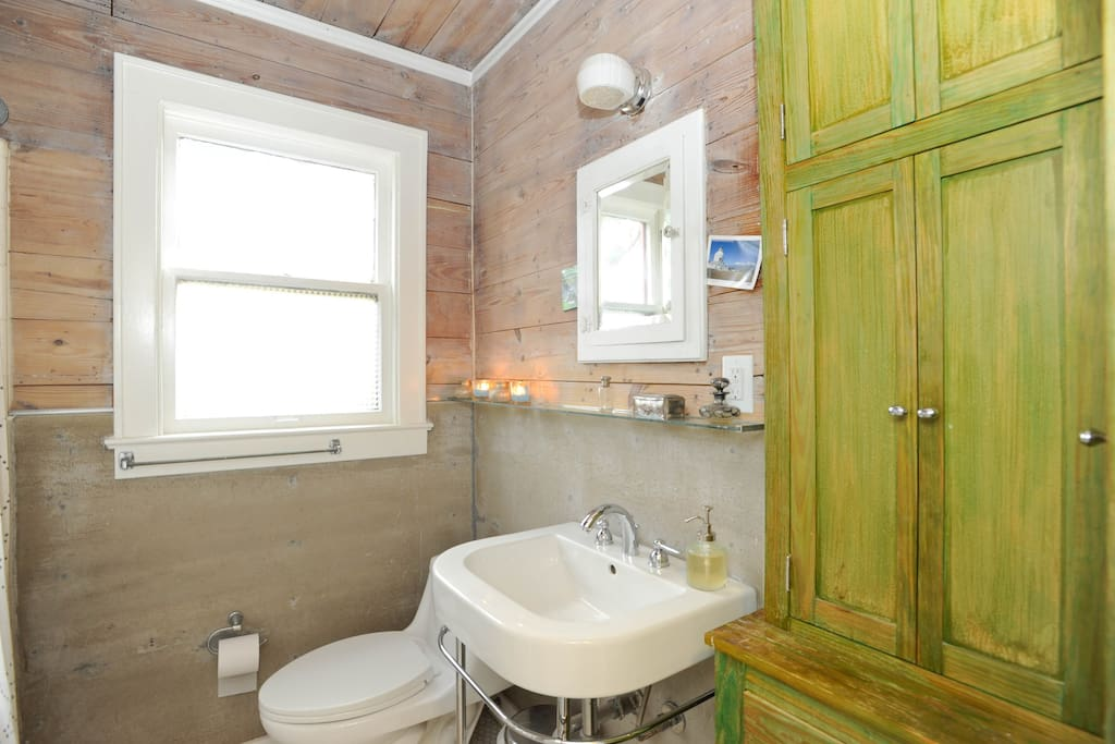 first bathroom gets beautiful natural light in the morning