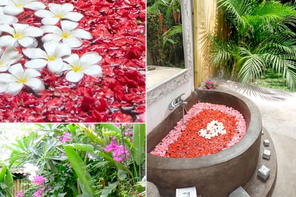 Flower Bath in open air bathroom !!!!