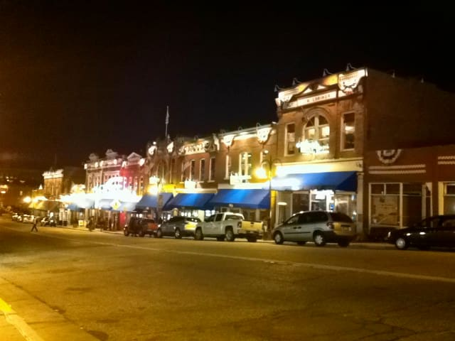 Downtown Cripple Creek at night!
