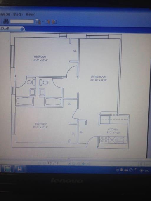 2 bedrooms/2 bathrooms