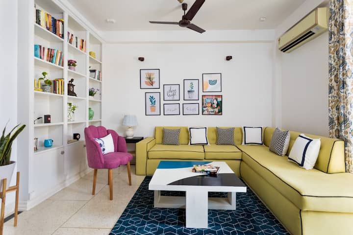Bright & Eclectic 3BHK Modern House with Courtyard