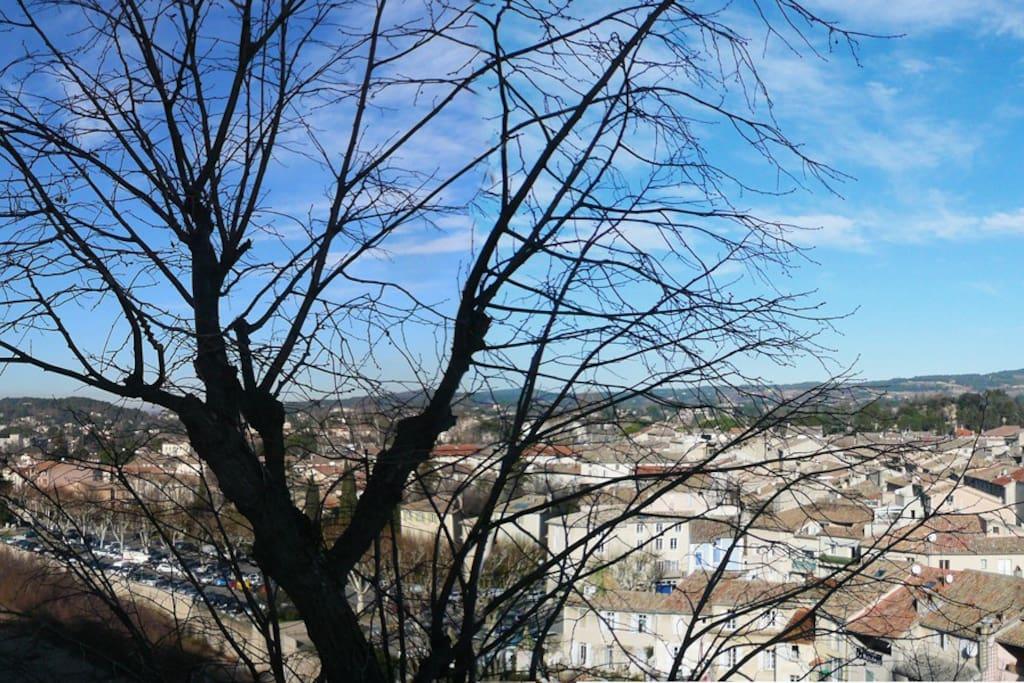 Panorama, vue à 180° sur la ville de Vaison et les alentours.