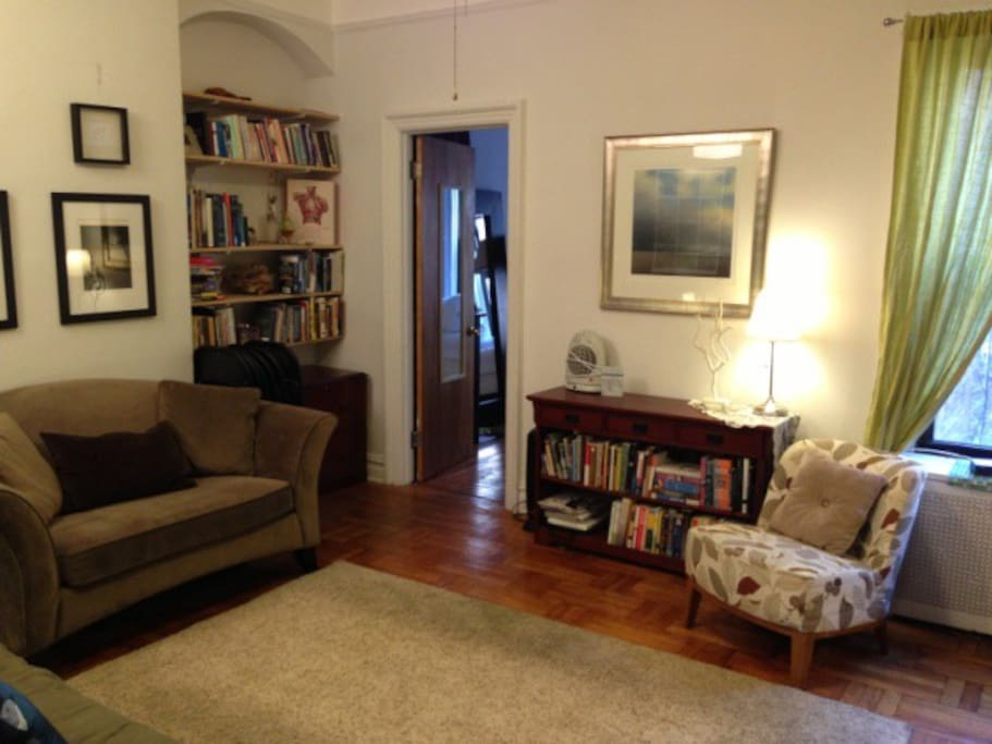 Straight ahead from the foyer (furniture has been rearranged, currently a green rug down rather than beige.)