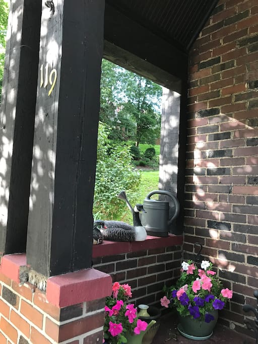 Front door and covered porch
