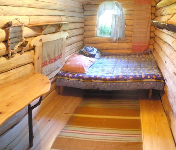 A room in a wooden house. Altay.