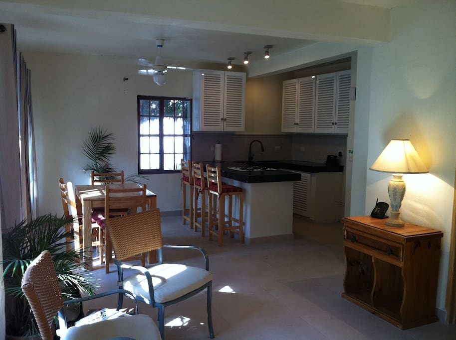 View of Kitchen and dining room from living area