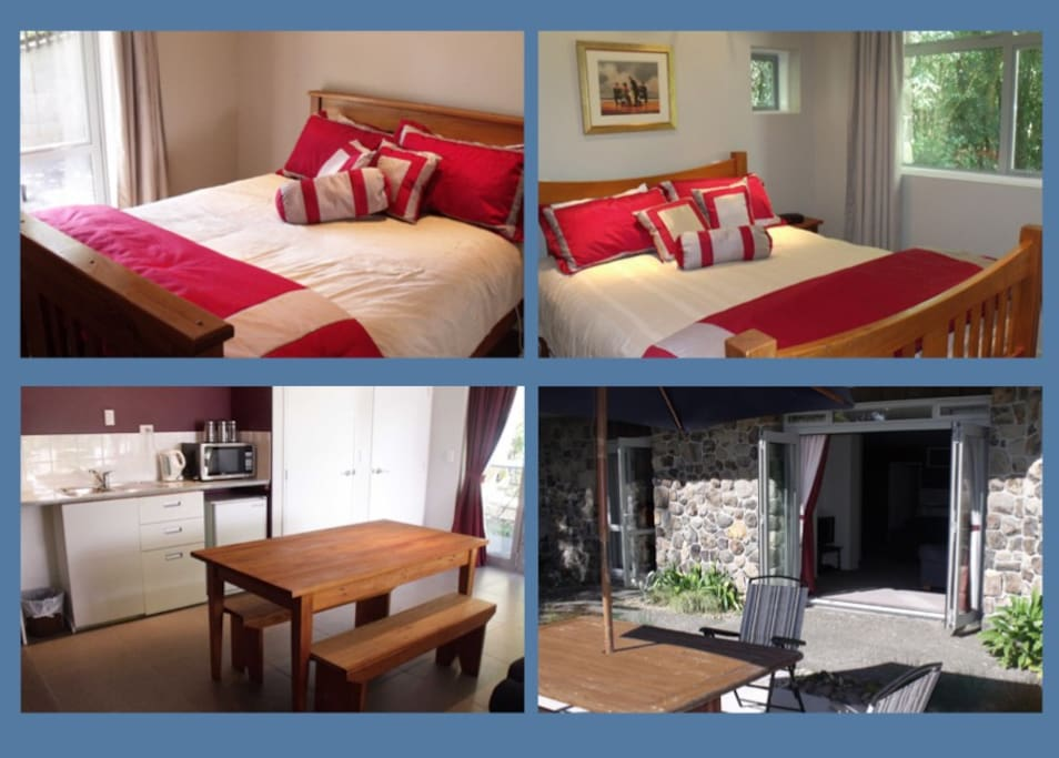 Two rooms with queen beds, kitchenette, lounge, bathroom and laundry.  Private entrance and direct access to bush walks.