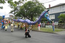 Parade for the annual Victoria Art Gallery's Moss St Paint-In