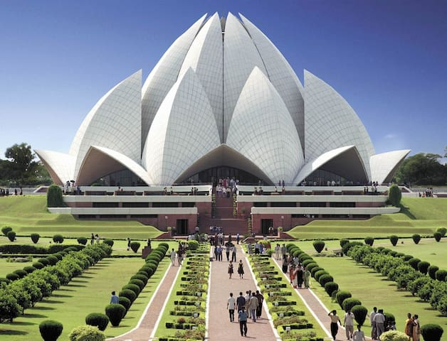 Lotus temple is 1.6 Km away..   Nearest metro station is Nehru Place which is just 1 KM away