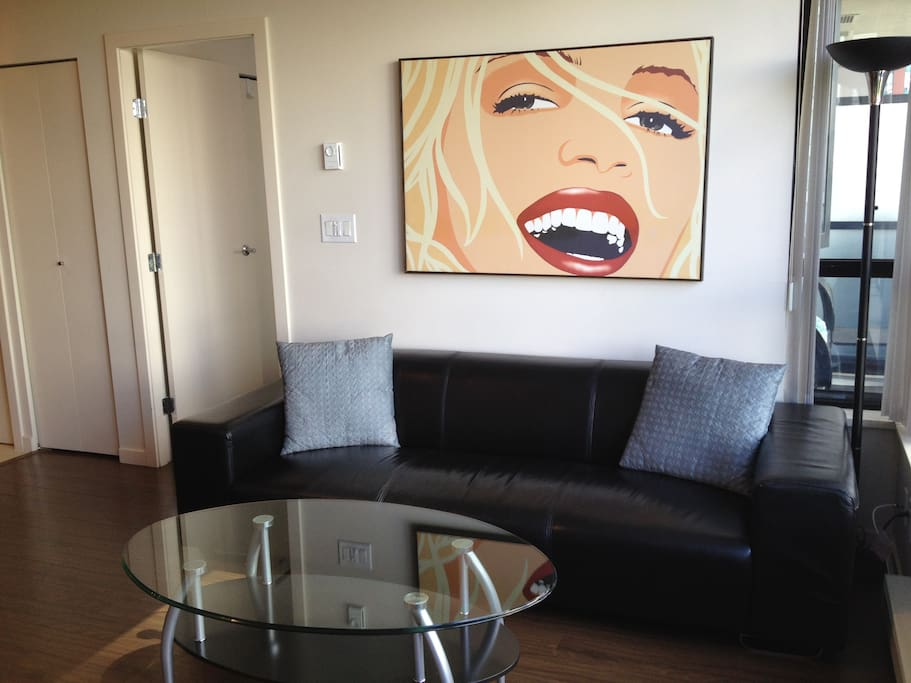 Full size modern leather sofa in Living room