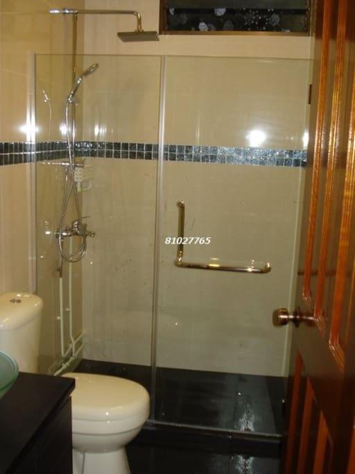 Bathroom is located 2 steps outside room