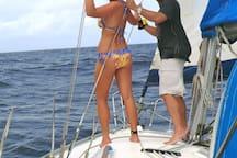 Couple Enjoying Sailboat