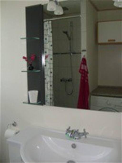 Badeværelse med vaskemaskine, pusleplads og brucheniche
