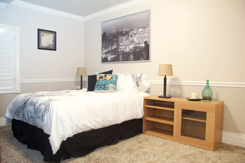 Main bedroom with queen size bed and Large flat screen TV (including Dish Network and DVD/Blu-Ray player)
