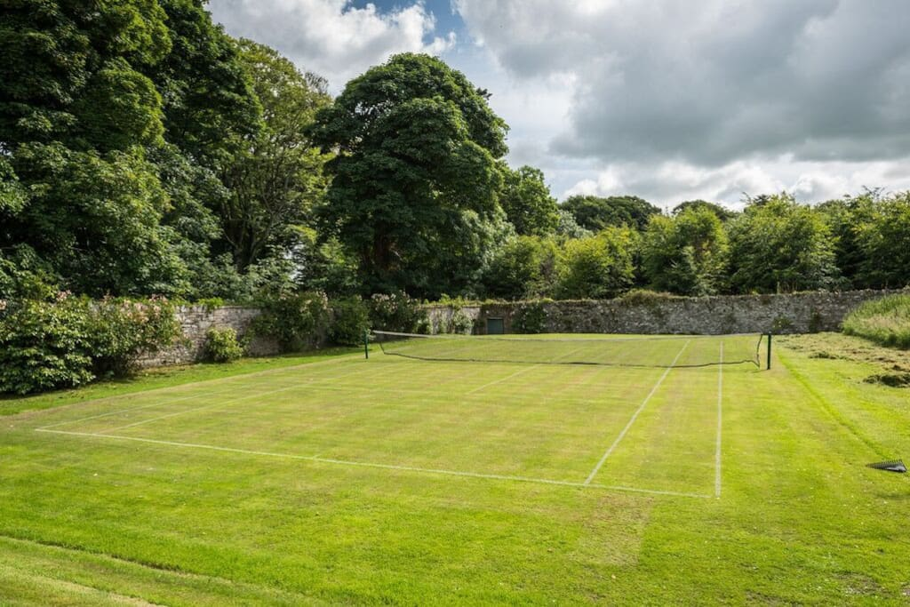 Our grass tennis court open for use.