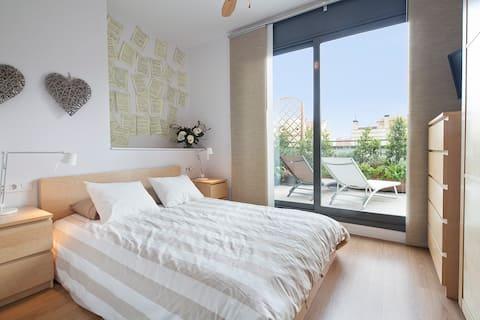 Jolie chambre avec terrasse appartement entière