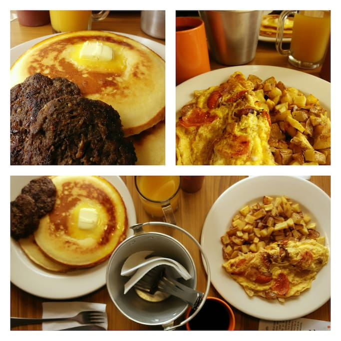 Big American Breakfast American Southern Cuisine.  We also have a Big Filipino Breakfast option with our house-made tapa, tocino, or longanisa
