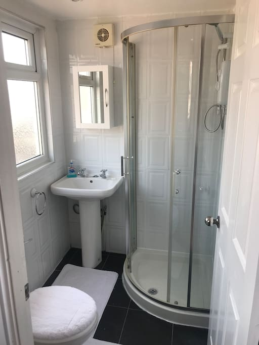Private shower and toilet connected to the bedroom.
