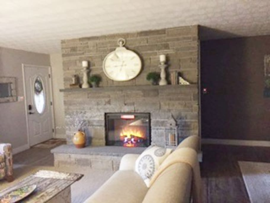 Upstairs common area and fireplace