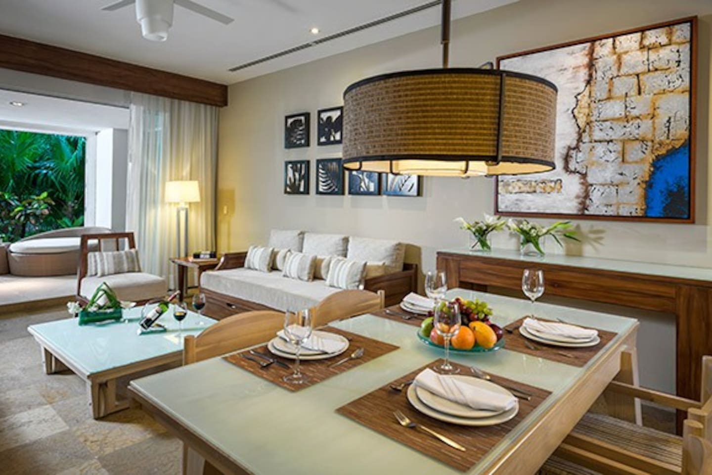 This space features a kitchen, a living room, private terrace with plunge pool, two bedrooms with either a king-size bed or two double beds, and two bathrooms with two Jacuzzi tubs