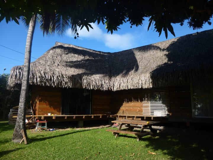 Traditional Polynesian Stilt house by the sea