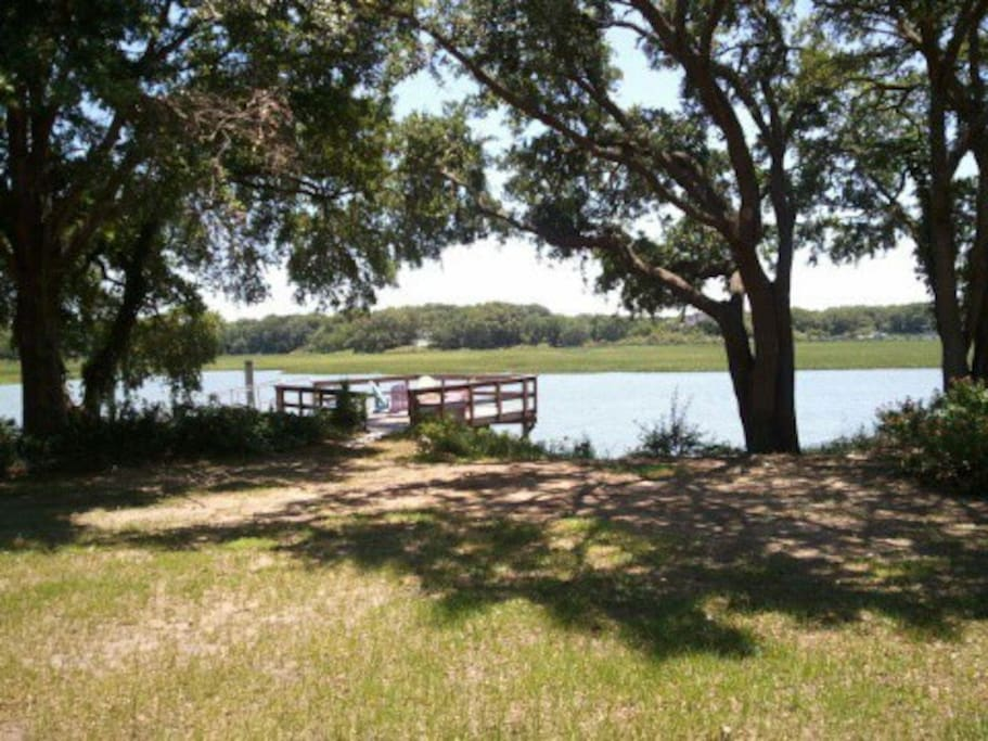 Private dock on a deep water tidal creek - perfect for lounging or launching a kayak!
