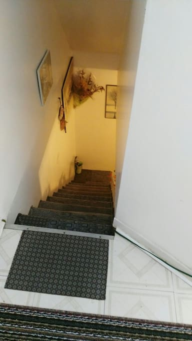 Narrow 10 flights stair to single bed bedroom