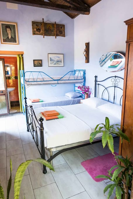 Double bed and bunk beds