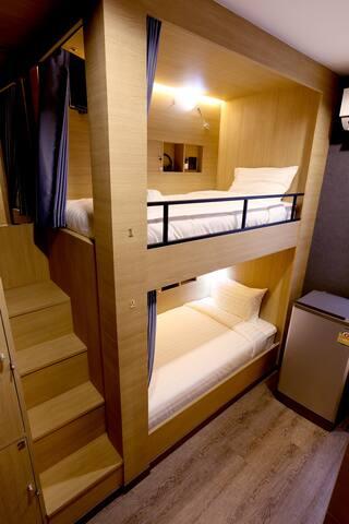 4 Bunks  mixed dormitory shared bathroom