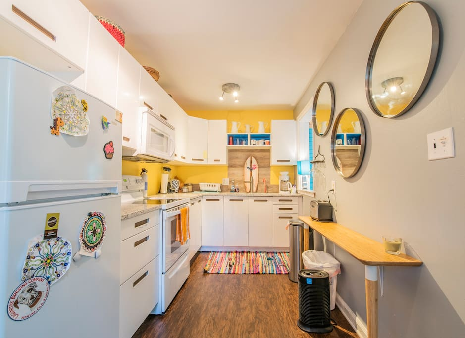 I adore this kitchen. You will love how easy it is to prepare your meals in here. You have a fully equipped kitchen. Every tool, dish, condiment, and many extras for you.  The only thing I do not have is a dishwasher. sorry...just not enough room.