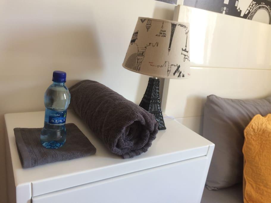 Botella de agua de cortesía