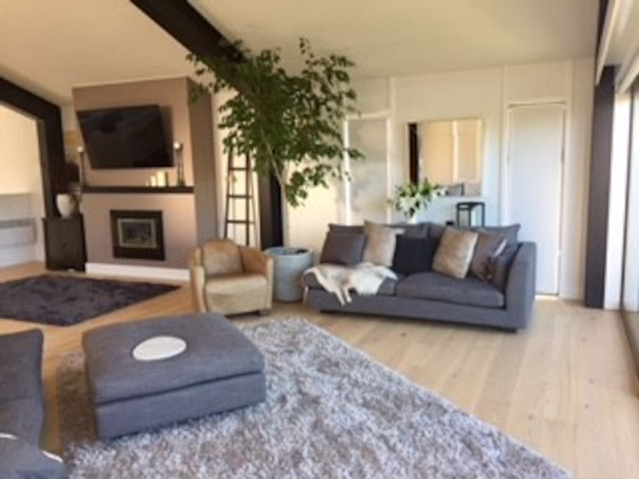 Our open plan living area upstairs. Gas fire.  Large TV. Sonos sound system.