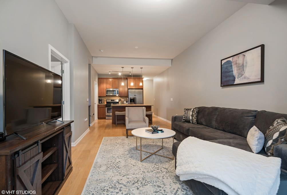 Our living area gives you a great place to relax between meetings or Chicago adventures!