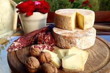 Piquant sheep's milk cheeses and home-made sousage from the local farm