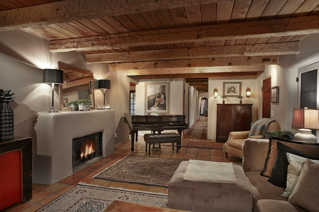 Living Room with Steinway Grand Piano and Fireplace