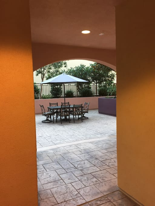 Extra large front patio offers a relaxing eating area.