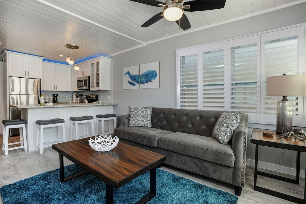 Your view upon entering Paralia House. A bright, modern, beautiful beach retreat!