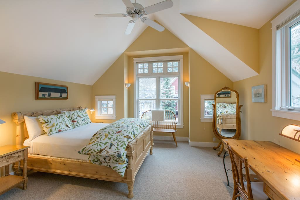 Master Queen suite, light and airy with vaulted ceilings.